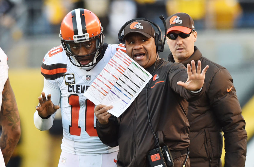 Jan 1, 2017; Pittsburgh, PA, USA; Cleveland Browns head coach Hue Jackson talks with quarterback Robert Griffin III (10) during the second half against the Pittsburgh Steelers at Heinz Field. The Steelers won 27-24 in overtime. Mandatory Credit: Ken Blaze-USA TODAY Sports