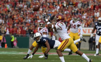Jan 2, 2017; Pasadena, CA, USA; USC Trojans defensive back Adoree' Jackson (2) intercepts a pass intended for Penn State Nittany Lions wide receiver DeAndre Thompkins (3) the 103rd Rose Bowl against the Penn State Nittany Lions at Rose Bowl. USC defeated Penn State 52-49 in the highest scoring game in Rose Bowl history. Mandatory Credit: Kirby Lee-USA TODAY Sports