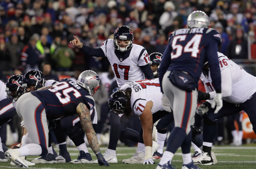 Jan 14, 2017; Foxborough, MA, USA; Houston Texans quarterback Brock Osweiler (17) at the line against the New England Patriots in the first half at Gillette Stadium. Mandatory Credit: David Butler II-USA TODAY Sports