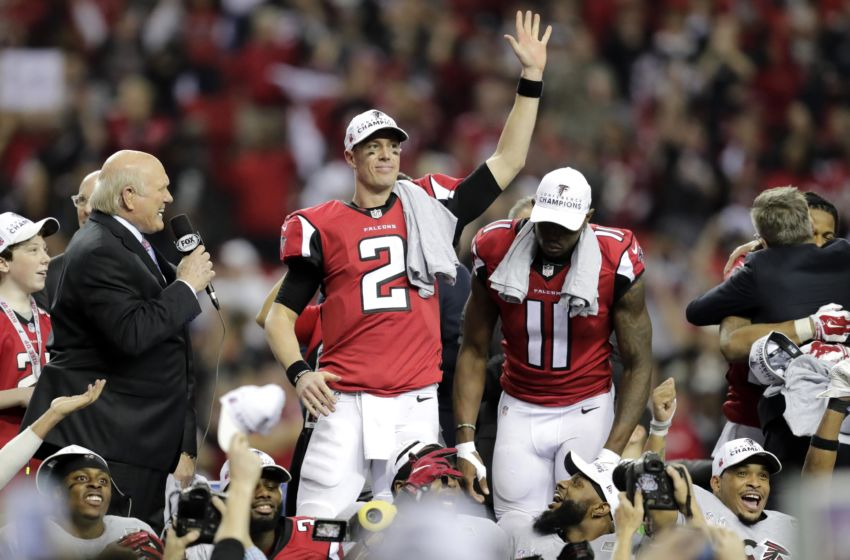 Jan 22, 2017; Atlanta, GA, USA; Atlanta Falcons quarterback Matt Ryan (2) waves to the crowd following the 2017 NFC Championship Game at the Georgia Dome. Mandatory Credit: William Glasheen/Appleton Post Crescent via USA TODAY NETWORK