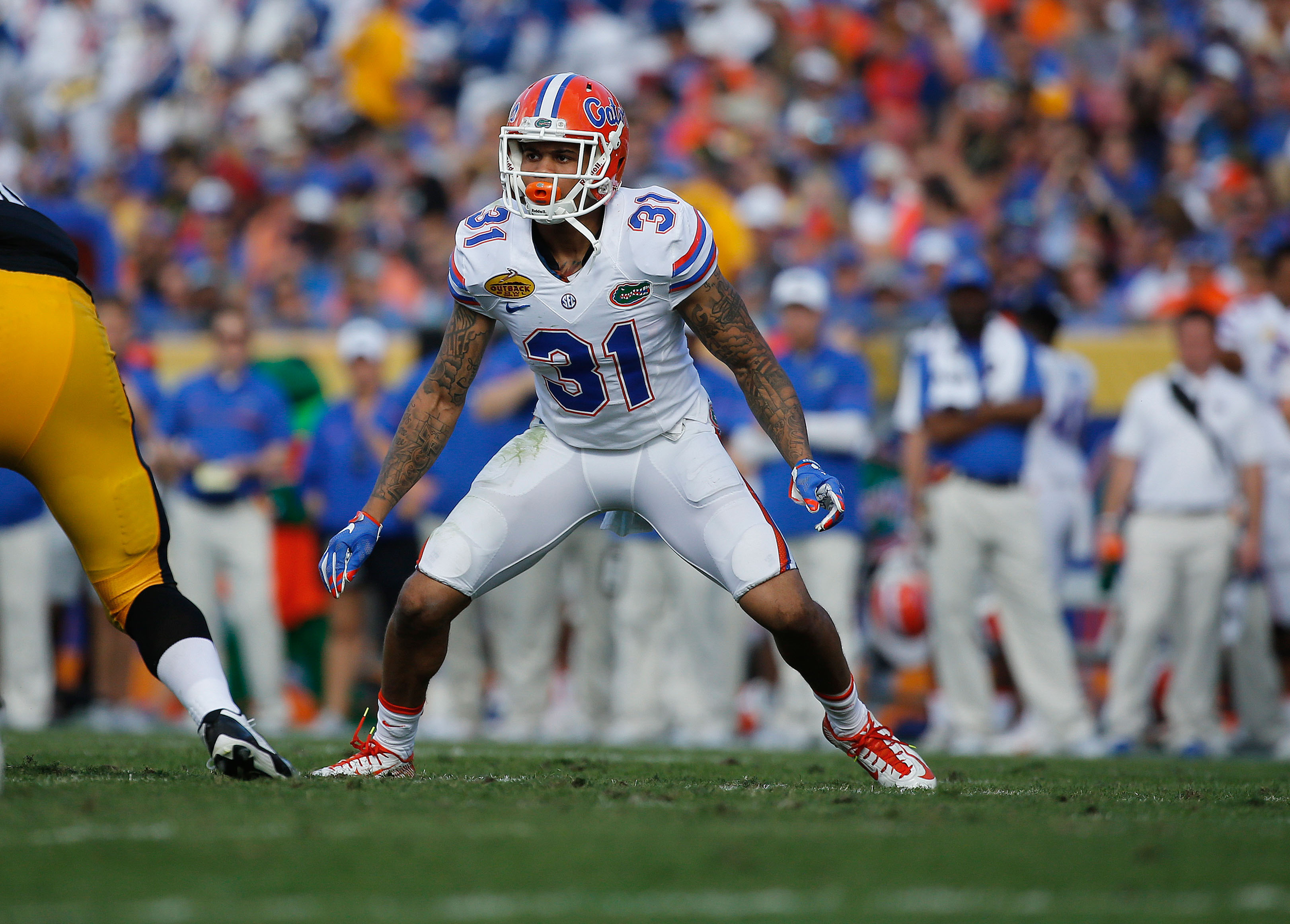 Jan 2, 2017; Tampa , FL, USA; Florida Gators defensive back Teez Tabor (31) rushes against the Florida Gators during the second quarter at Raymond James Stadium. Mandatory Credit: Kim Klement-USA TODAY Sports