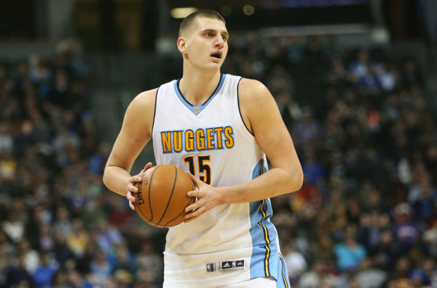 Jan 26, 2017; Denver, CO, USA; Denver Nuggets forward Nikola Jokic (15) during the second half against the Phoenix Suns at Pepsi Center. The Nuggets won 127-120. Mandatory Credit: Chris Humphreys-USA TODAY Sports
