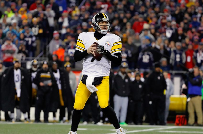 Jan 22, 2017; Foxborough, MA, USA; Pittsburgh Steelers quarterback Ben Roethlisberger (7) during the 2017 AFC Championship Game against the New England Patriots at Gillette Stadium. Mandatory Credit: Winslow Townson-USA TODAY Sports