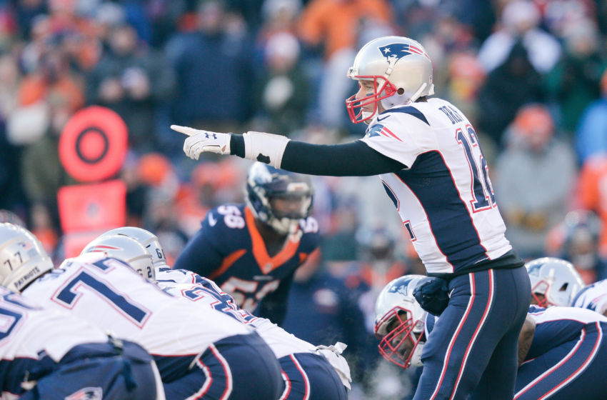 Dec 18, 2016; Denver, CO, USA; New England Patriots quarterback Tom Brady (12) makes a call at the line of scrimmage in the first quarter against the Denver Broncos at Sports Authority Field at Mile High. Mandatory Credit: Isaiah J. Downing-USA TODAY Sports