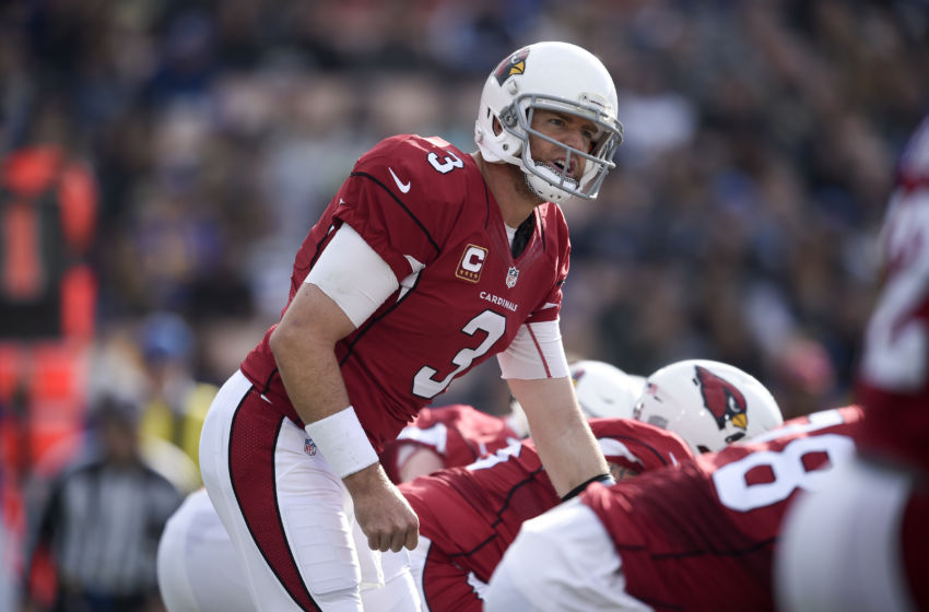 Jan 1, 2017; Los Angeles, CA, USA; Arizona Cardinals quarterback Carson Palmer (3) in action during the first quarter against the Los Angeles Rams at Los Angeles Memorial Coliseum. Mandatory Credit: Kelvin Kuo-USA TODAY Sports