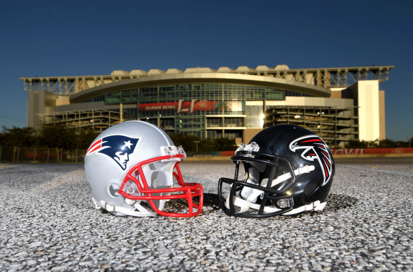 Jan 31, 2017; Houston, TX, USA; General overall view of New England Patriots and Atlanta Falcons helmets at NRG Stadium prior to Super Bowl LI on Feb 5, 2017. Mandatory Credit: Kirby Lee-USA TODAY Sports