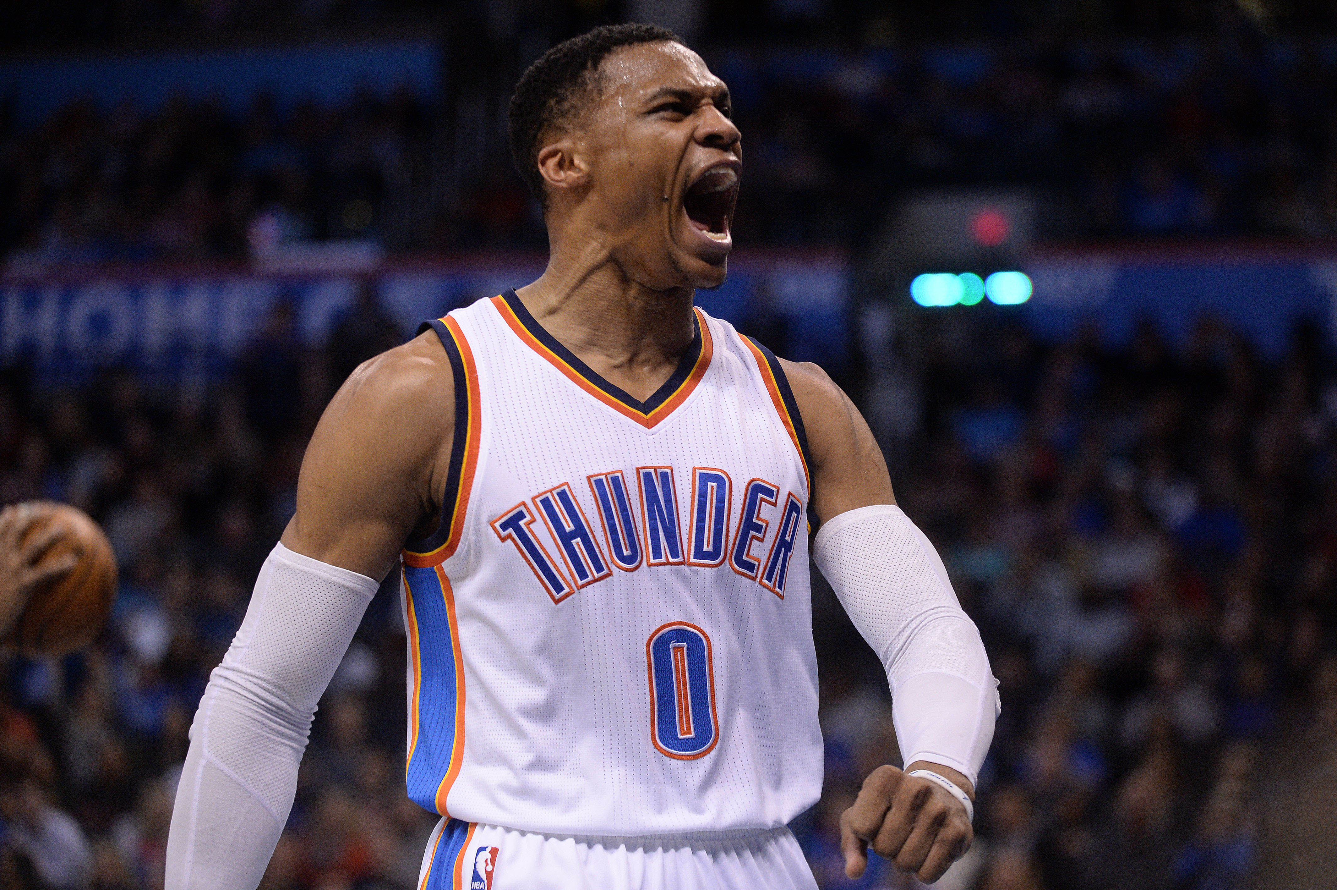 Feb 1, 2017; Oklahoma City, OK, USA; Oklahoma City Thunder guard Russell Westbrook (0) reacts after a play against the Chicago Bulls during the second quarter at Chesapeake Energy Arena. Mandatory Credit: Mark D. Smith-USA TODAY Sports