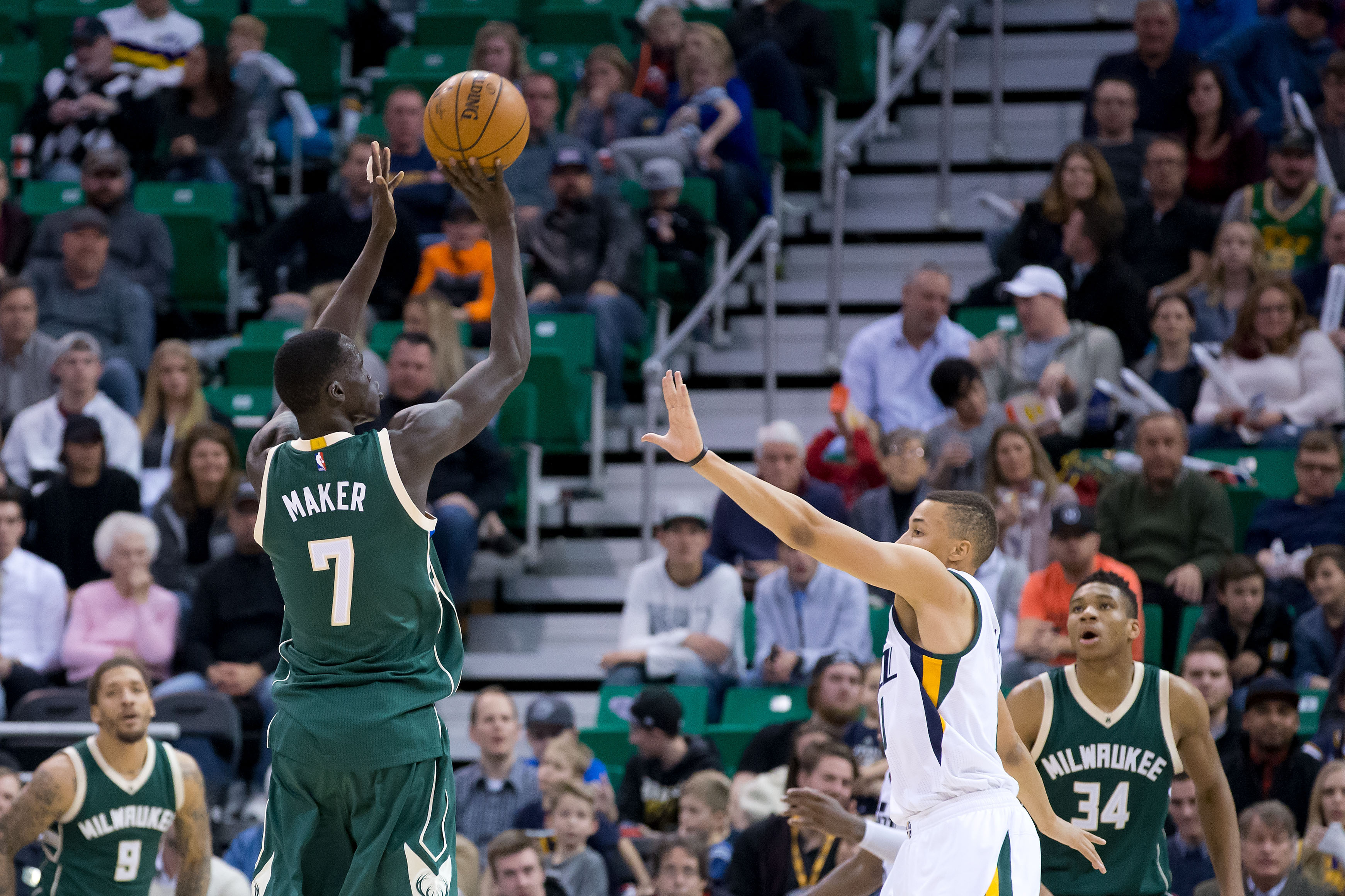 Feb 1, 2017; Salt Lake City, UT, USA; Milwaukee Bucks forward Thon Maker (7) shoots the ball against Utah Jazz guard Dante Exum (11) during the second half at Vivint Smart Home Arena. The Jazz won 104-88. Mandatory Credit: Russ Isabella-USA TODAY Sports