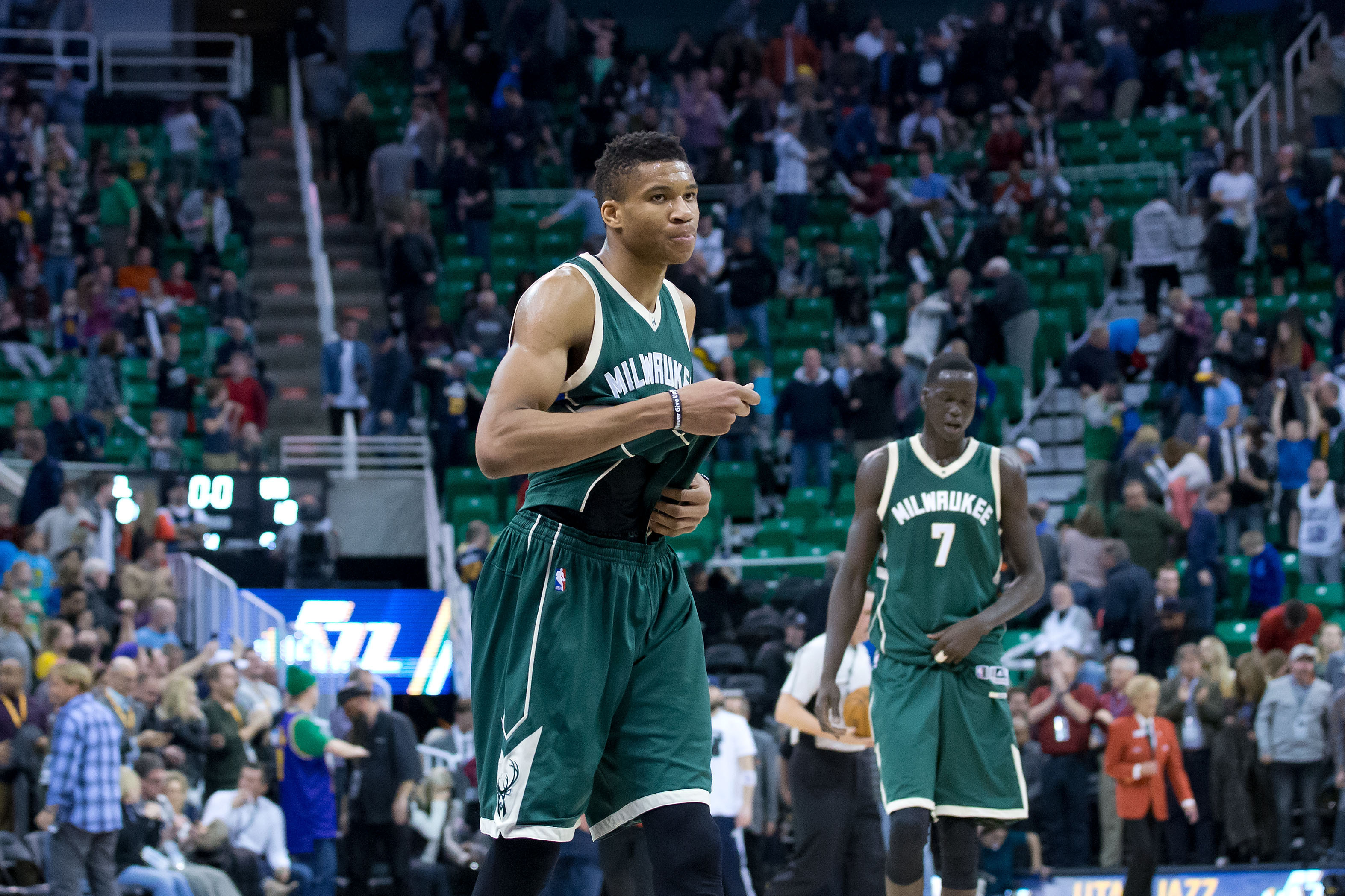 Feb 1, 2017; Salt Lake City, UT, USA; Milwaukee Bucks forward Giannis Antetokounmpo (34) leaves the court following the game against the Utah Jazz at Vivint Smart Home Arena. The Jazz won 104-88. Mandatory Credit: Russ Isabella-USA TODAY Sports