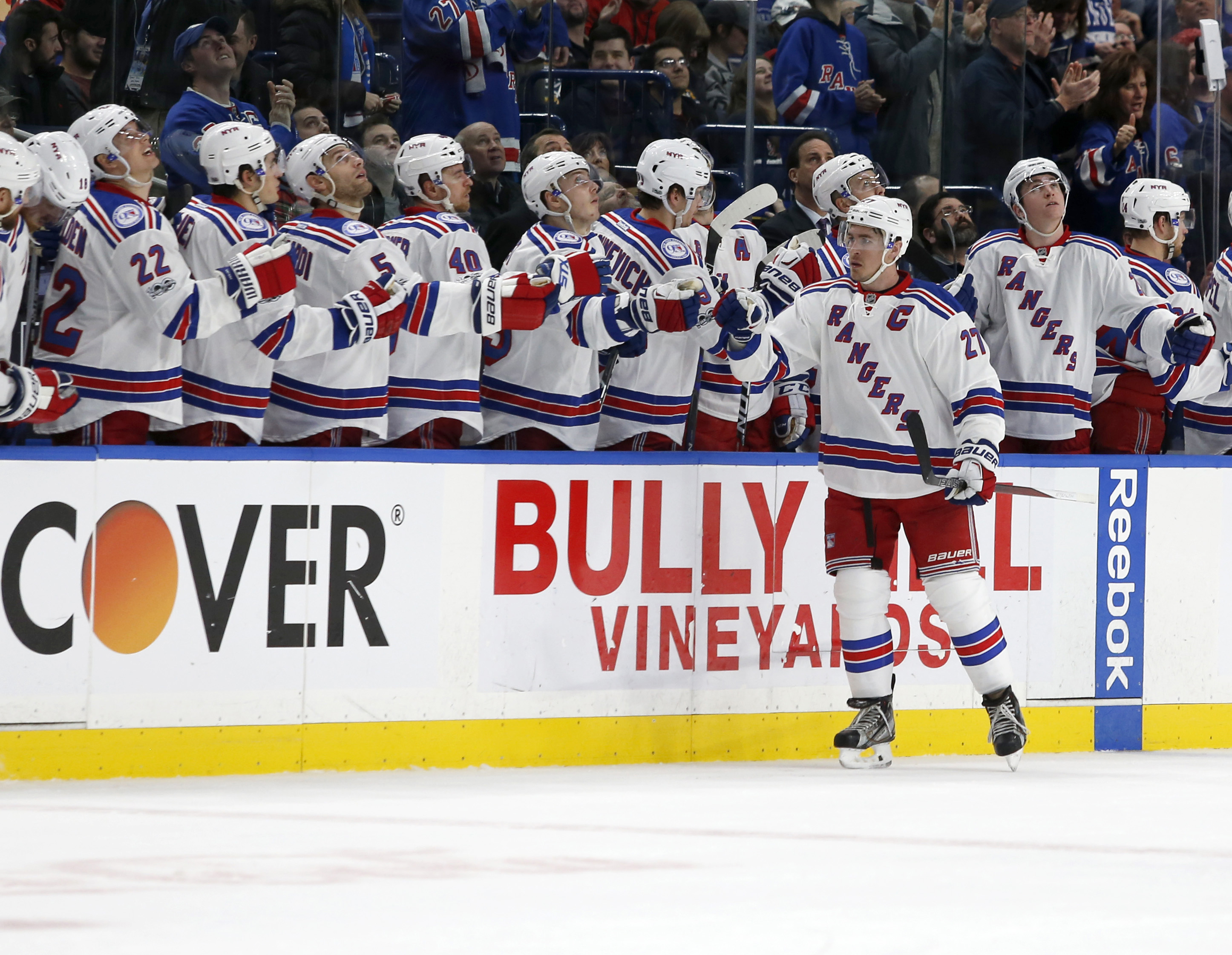 Feb 2, 2017; Buffalo, NY, USA; New York Rangers defenseman Ryan McDonagh (27) celebrates a goal during the second period against the Buffalo Sabres at KeyBank Center. Mandatory Credit: Timothy T. Ludwig-USA TODAY Sports
