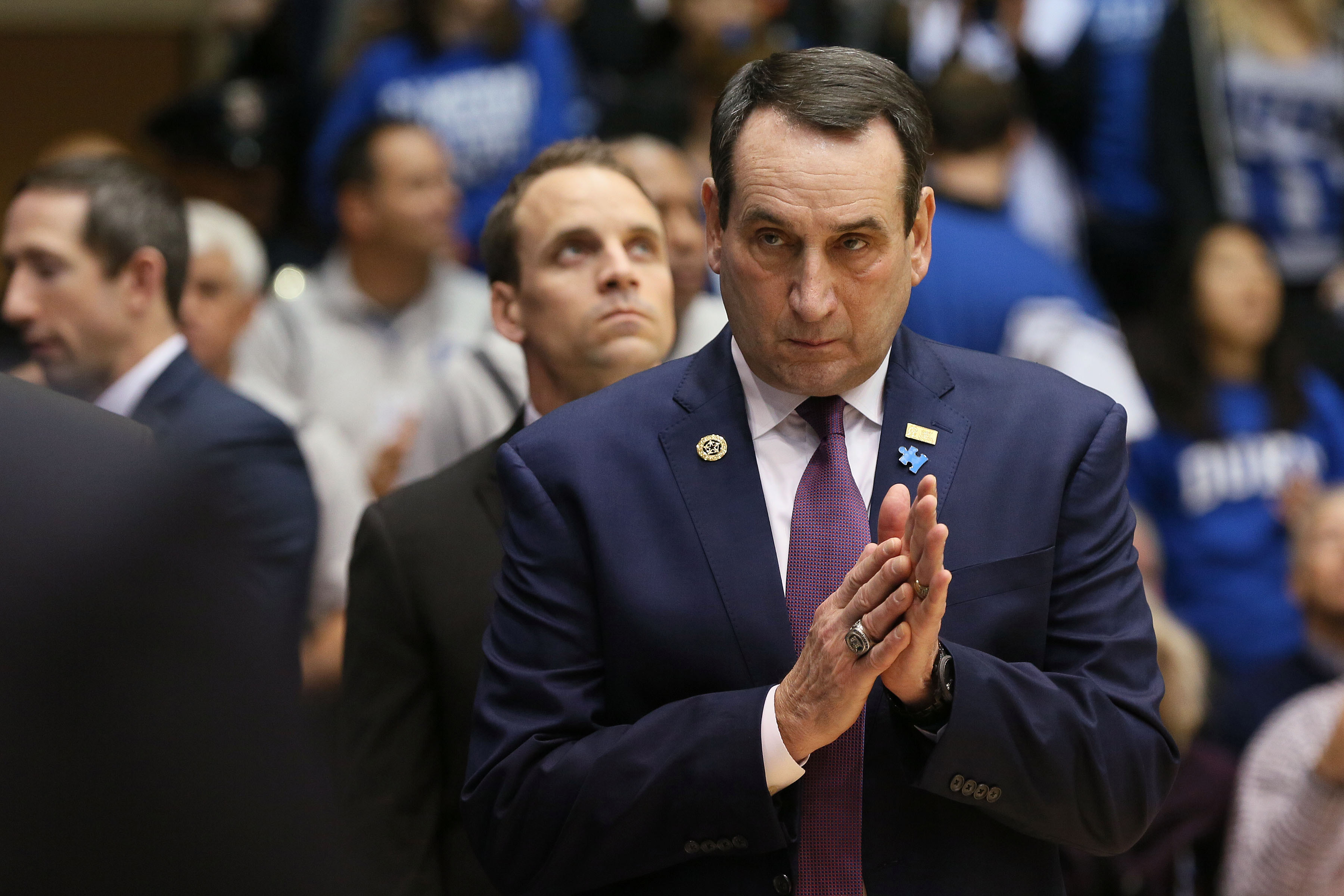 Feb 4, 2017; Durham, NC, USA; Duke Blue Devils head coach Mike Krzyzewski watches his team during player introductions before the start of their game against the Pittsburgh Panthers at Cameron Indoor Stadium. Mandatory Credit: Mark Dolejs-USA TODAY Sports