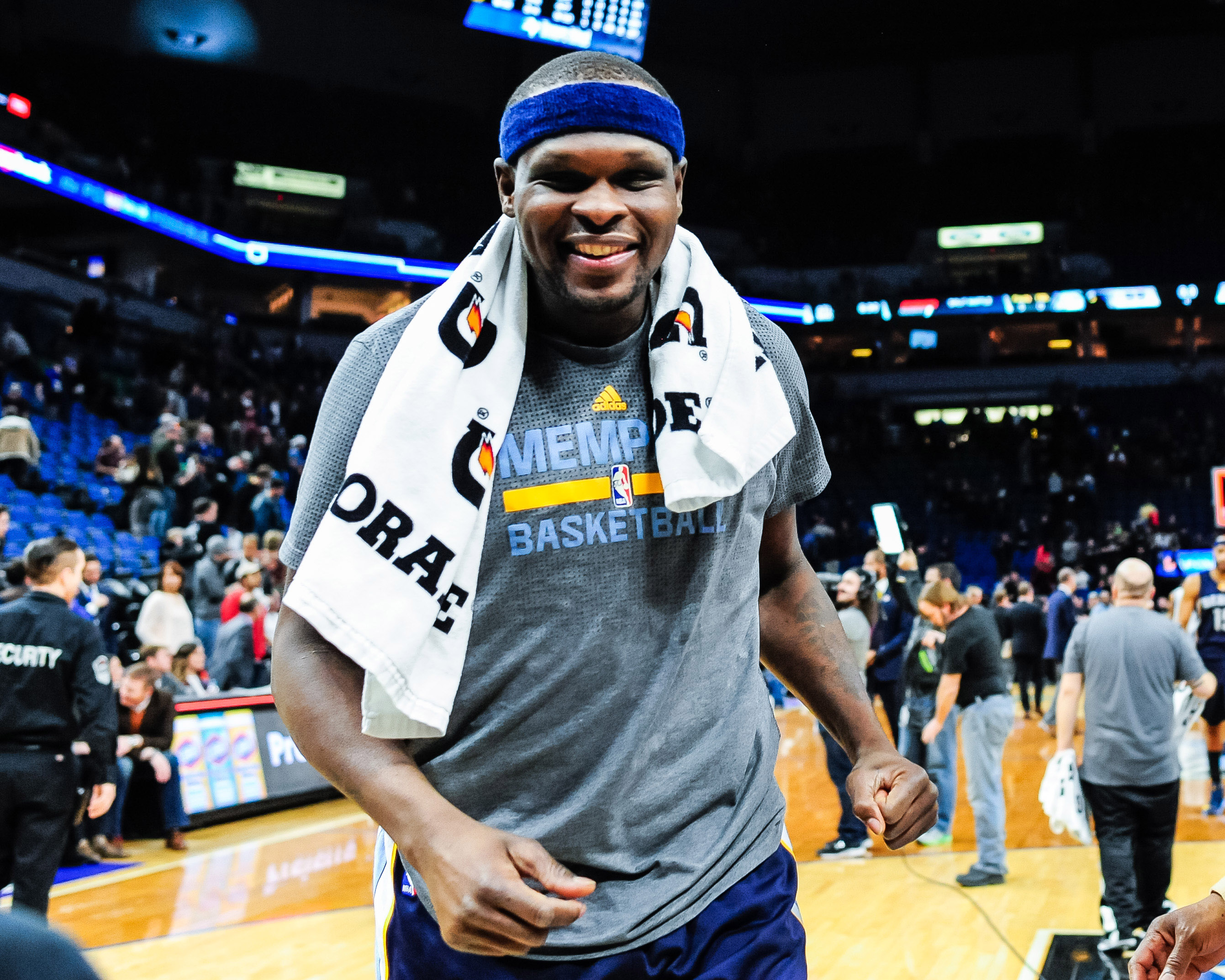 Feb 4, 2017; Minneapolis, MN, USA; Memphis Grizzlies forward Zach Randolph (50) walks off the court after the game against the Minnesota Timberwolves at Target Center. The Grizzlies won 107-99. Mandatory Credit: Jeffrey Becker-USA TODAY Sports