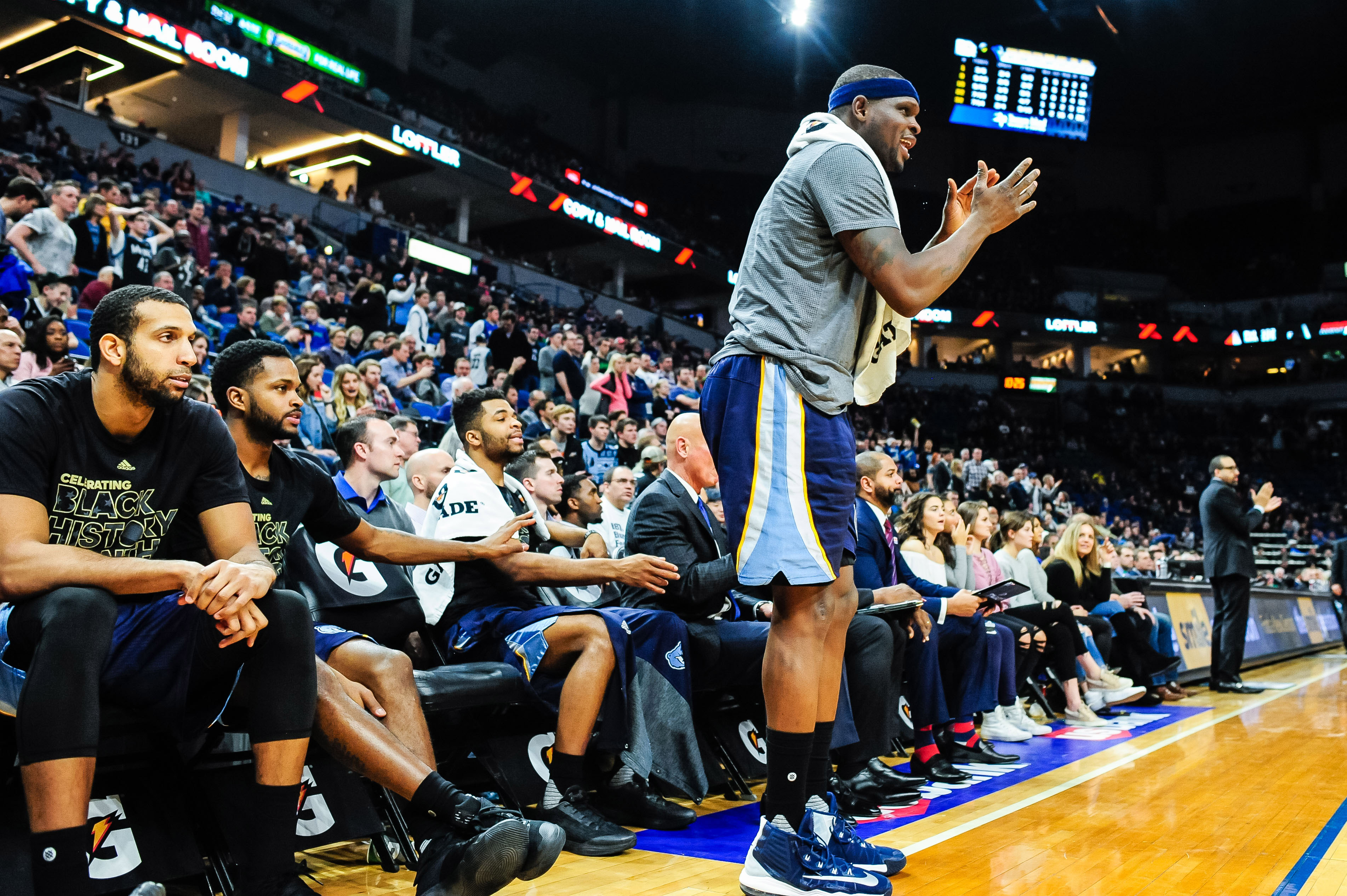 Feb 4, 2017; Minneapolis, MN, USA; Memphis Grizzlies forward Zach Randolph (standing) celebrates from the bench during the fourth quarter against the Minnesota Timberwolves at Target Center. Randolph had previously fouled out. The Grizzlies won 107-99. Mandatory Credit: Jeffrey Becker-USA TODAY Sports