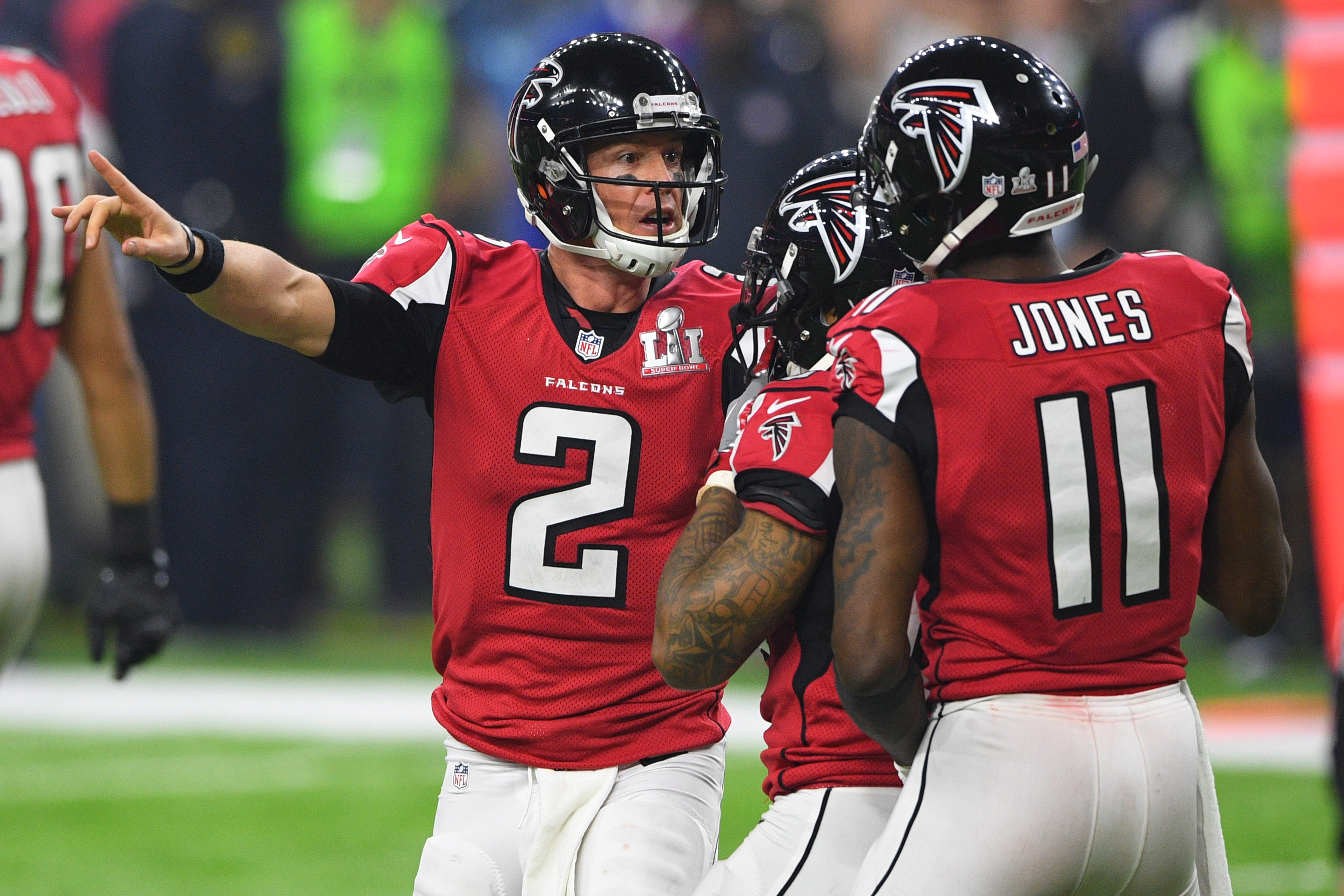 Feb 5, 2017; Houston, TX, USA; Atlanta Falcons quarterback Matt Ryan (2) speaks to wide receiver Julio Jones (11) in the fourth quarter against the New England Patriotsduring Super Bowl LI at NRG Stadium. Mandatory Credit: Bob Donnan-USA TODAY Sports