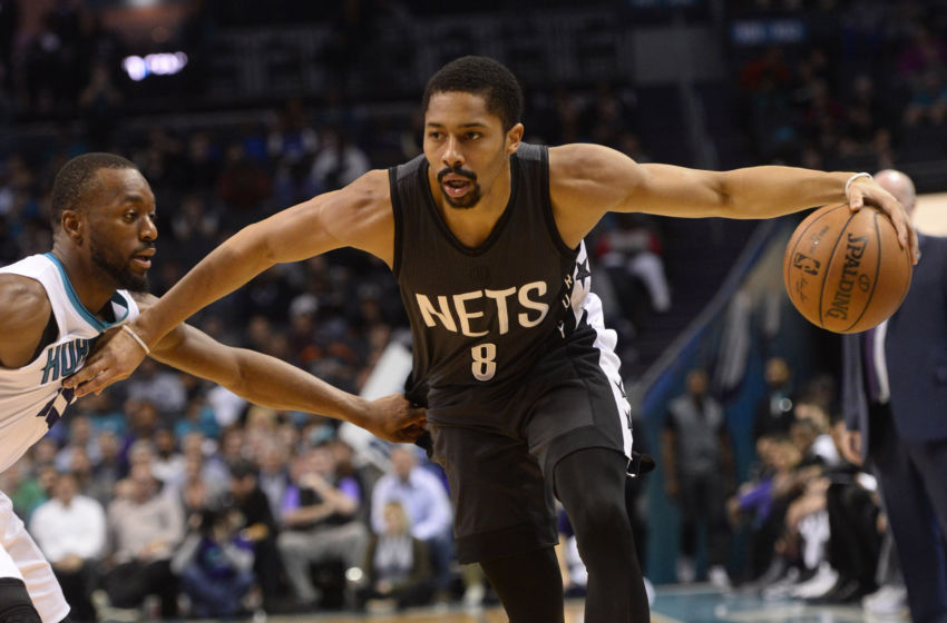 Feb 7, 2017; Charlotte, NC, USA; Brooklyn Nets guard Spencer Dinwiddie (8) dribbles the ball as Charlotte Hornets guard Kemba Walker (15) defends during the second half of the game at the Spectrum Center. The Hornets won 111-107. Mandatory Credit: Sam Sharpe-USA TODAY Sports