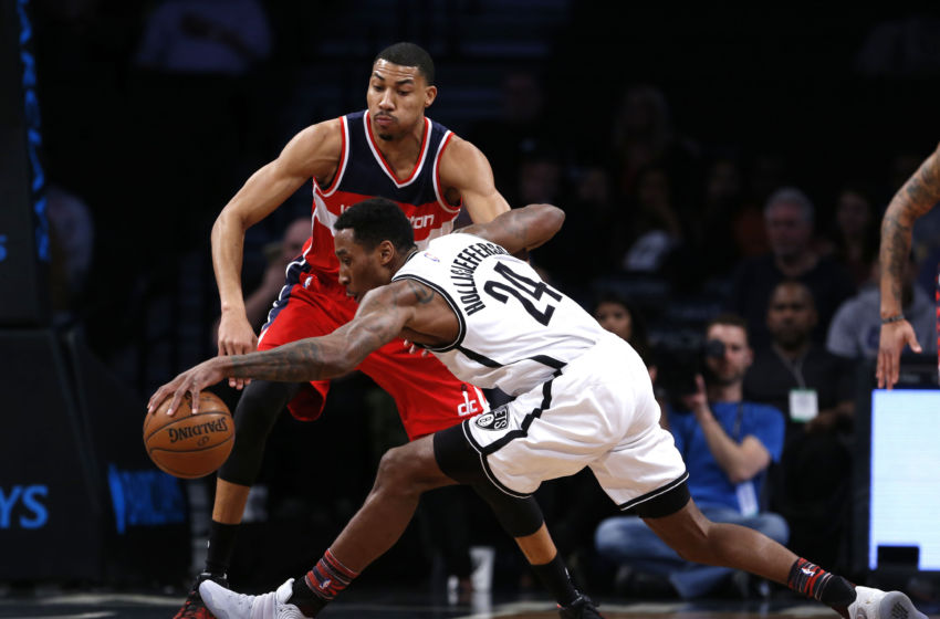 Feb 8, 2017; Brooklyn, NY, USA; Washington Wizards forward Otto Porter Jr. (22) defends against Brooklyn Nets forward Rondae Hollis-Jefferson (24) during first half at Barclays Center. Mandatory Credit: Noah K. Murray-USA TODAY Sports