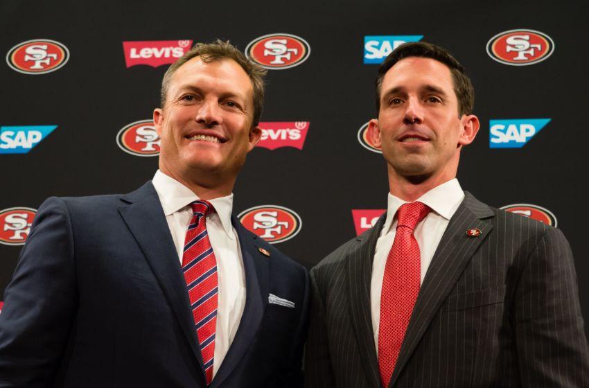 Feb 9, 2017; Santa Clara, CA, USA; San Francisco 49ers general manager John Lynch and head coach Kyle Shanahan pose for a photo during a press conference at Levi's Stadium. Mandatory Credit: Kelley L Cox-USA TODAY Sports