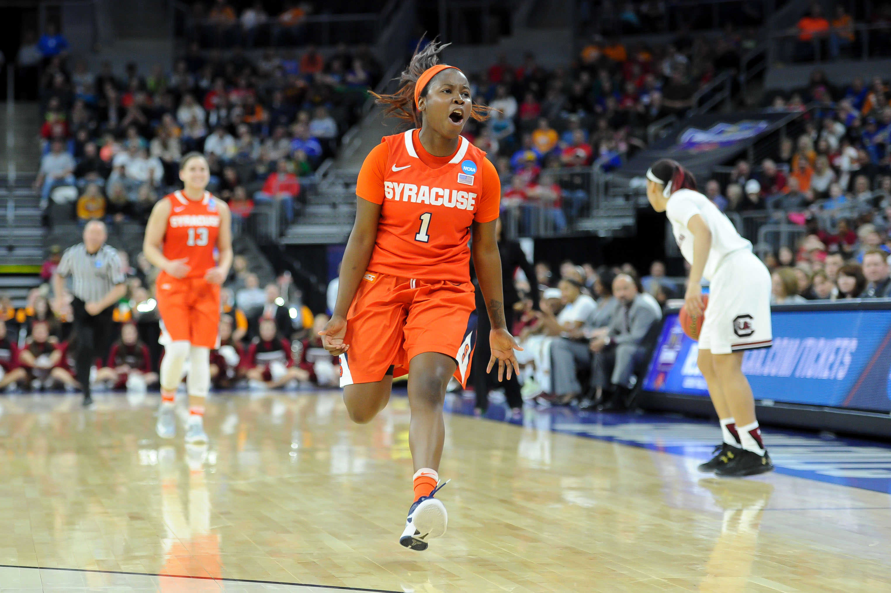 SU women's basketball wins NCAA opener, faces UCONN Monday