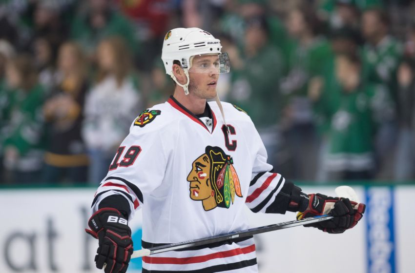 Feb 6, 2016; Dallas, TX, USA; Chicago Blackhawks center Jonathan Toews (19) skates in warm-ups prior to the game against the Dallas Stars at the American Airlines Center. The Blackhawks defeat the Stars 5-1. Mandatory Credit: Jerome Miron-USA TODAY Sports